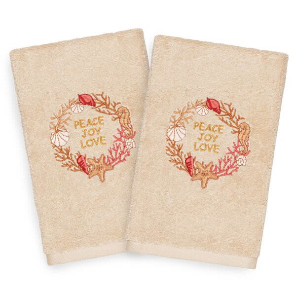 Beam Peace Embroidered Luxury 100% Turkish Cotton Hand Towel (Set of 2) by The Holiday Aisle